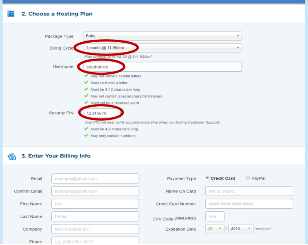 Choose Your Billing Cycle & Username