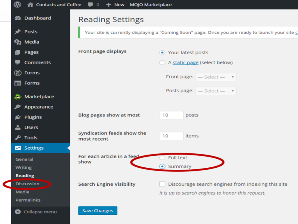 Configure WordPress Reading Settings