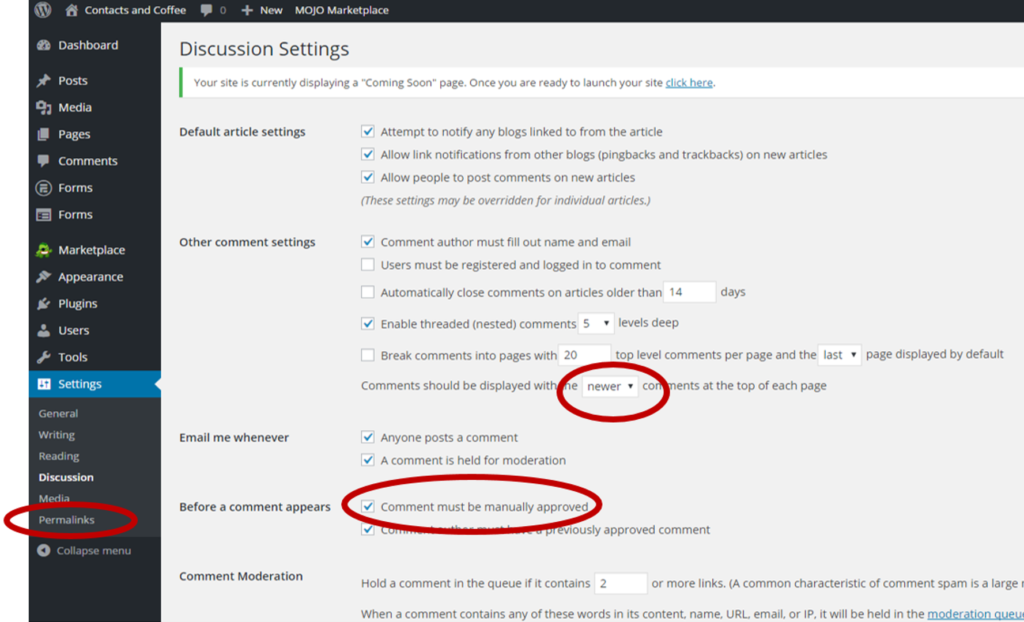 Configure WordPress Discussion Settings