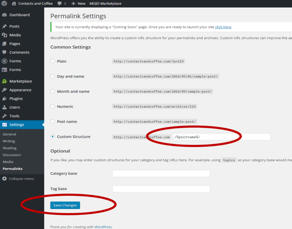 Configure WordPress Permalink Structure Settings
